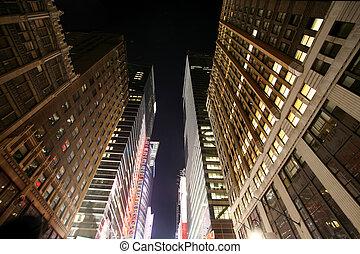 -, 夜間, マンハッタン, 古典である, ny