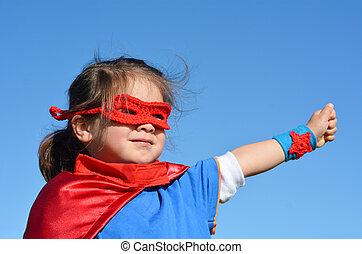 -, 女の子, 子供, superhero, 力