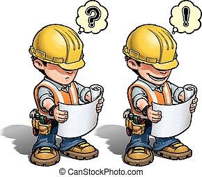 -, 建築作業員, 計画, 読書