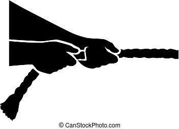 -, 引っ張りなさい, ロープ, 戦争, 引き, 手