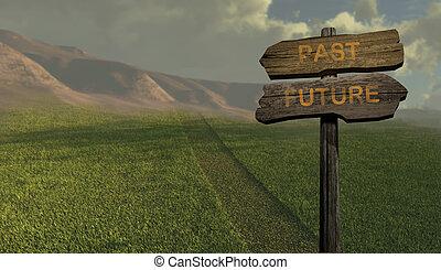 -, 方向, 未来, 印, を過ぎて