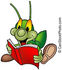 -, 本, 緑, 読書, 虫, 幸せ
