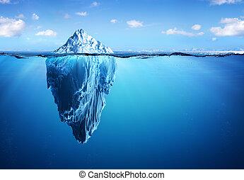 -, 氷山, 暖まること, 世界的である, 危険, 隠された, 概念