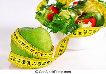 -, 測定, りんご, テープ, レタス, 丸薬, 食事, 緑, 概念
