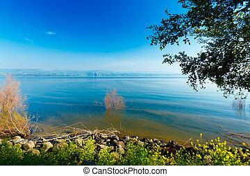 -, 湖, galilee, 風景, 海, kinneret