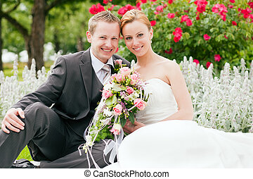 -, 結婚式, 花婿, 公園, 花嫁