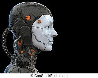 -, 背景, ロボット, 3d, 女性, 技術, レンダリング, 女, cyborg, アンドロイド, -realistic, ヒューマノイド