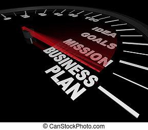 -, 速度計, 計画, ビジネス