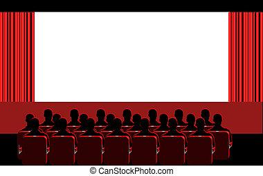 -, 部屋, 赤, 映画館