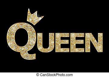 -, 金, ベクトル, 女王, イラスト