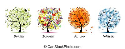 -, 4, 芸術, 秋, 美しい, 木, 春, デザイン, winter., 季節, 夏, あなたの