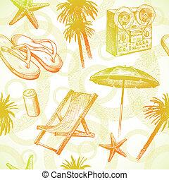 -, seamless, 手, トロピカル, リゾート, ベクトル, 背景, 引かれる, 浜