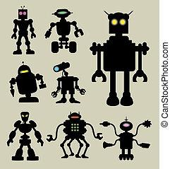 1, シルエット, ロボット