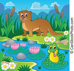 1, 動物群, 川, 主題, イメージ
