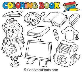 1, 本, 学校, 着色, 主題