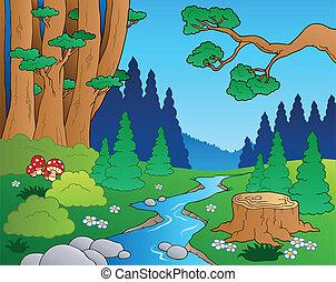 1, 漫画, 風景, 森林