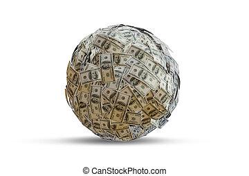 100-dollar, -, 紙幣, ドル, レンダリング, 3d, ボール