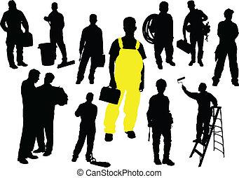 12人の人々, silhouettes., 労働者