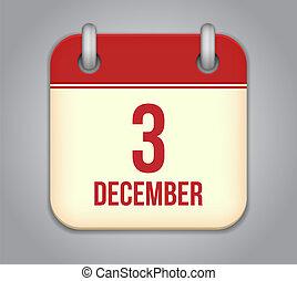 12月, app, 3, ベクトル, icon., カレンダー