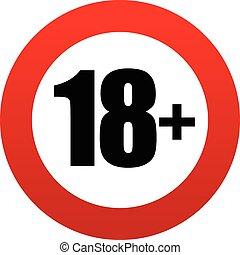18+, 年齢, 印。, 制限