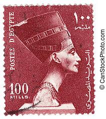 :, 1980, エジプト, 女王, -, バスト, 切手, 印刷される, nefertiti, ∥ころ∥, ショー