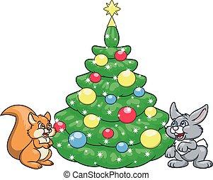 2, 木, リス, うさぎ, クリスマス