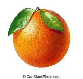 2, 葉, バックグラウンド。, フルーツ, オレンジ, 新たに, 白
