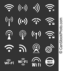 20, wifi, セット, アイコン