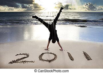 2011, 浜, 若い, 日の出, 年, 新しい, 幸せ, 逆立ち, 祝いなさい, 人