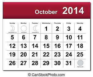2014, カレンダー, 10 月