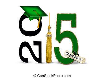 2015, 帽子, 緑, 卒業