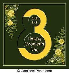 3月, 挨拶, 女性, 花の8, 日, カード, 幸せ