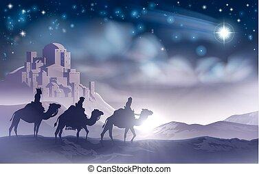 3, クリスマス, 男性, nativity, 賢い, イラスト