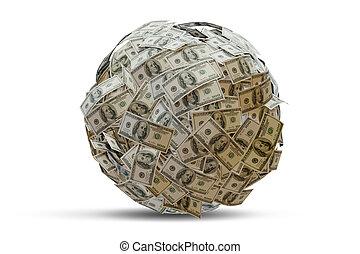 3d, ボール, -, レンダリング, ドル, 紙幣, 100-dollar