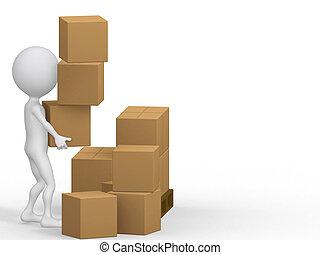 3d, 届く, boxes., ボール紙, 人々