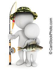 3d, 白, 息子, 釣り, 人々