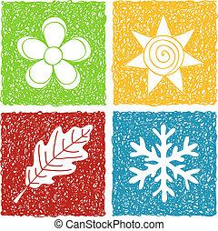 4つの季節, いたずら書き, アイコン