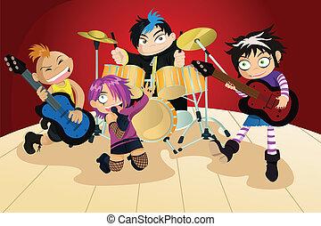 4, バンド, わずかしか, 子供, 岩