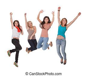 4, 喜び, 女, 若い, 跳躍