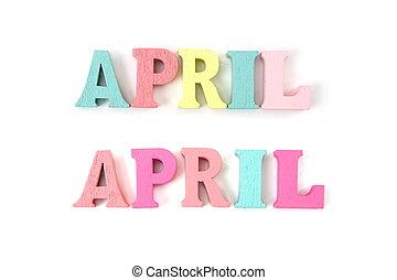 4 月, アルファベット, 手紙, 隔離された, 白, カラフルである, 背景, 単語