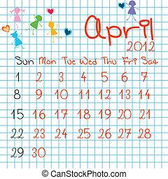 4 月, カレンダー, 2012