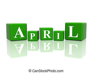 4 月, 立方体, 3d