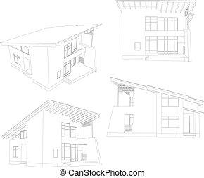 4, house., フレーム, 角度