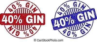 40%, グランジ, 切手, シール, textured, ジン, ラウンド