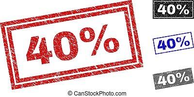 40%, グランジ, 切手, シール, textured, 長方形