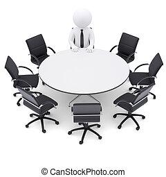7, 椅子, 人, テーブル。, ラウンド, 空, 3d