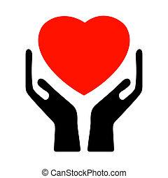 8, heart., eps, 手を持つ