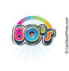 80s, 型, 学校, 古い, ロゴ