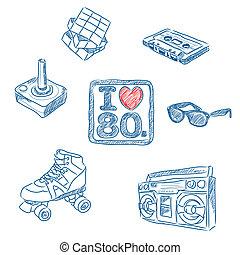 80s, doodles, 愛