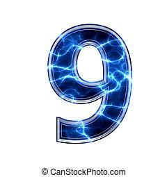 9, ディジット, -, 電気である, 3d